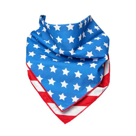 Bandana con la impresión en forma de bandera de Estados Unidos para formar alrededor del cuello de su tema Foto de archivo