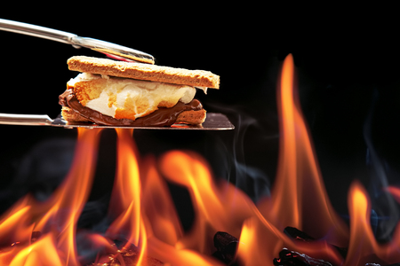 Smore cooking over fire with melting marshmallow and chocolate oozing out of graham crackers.