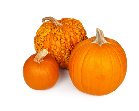 Group of three pumpkins isolated on white