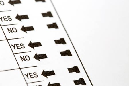 Row of yes and no options on voting ballot with copy space