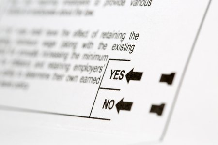 proposition: Selective focus on Yes or No voting choices for a proposition on a United States voting ballot Stock Photo