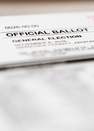 official ballot: PHOENIX, AZ - OCTOBER 21, 2016: Selective focus on headline title of the official 2016 general election voting ballot