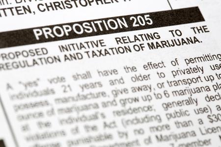absentee: PHOENIX, AZ - OCTOBER 21, 2016: Closeup photo of headline of proposition 205 initiative to make marijuana legal on United States voting ballot