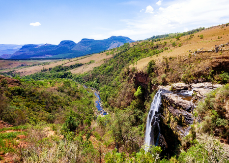 Scenic view of waterfalls at Lisbon Falls along the panoramic route in Mpumalanga, South Africa