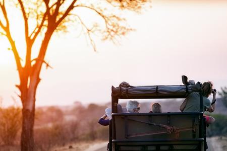 NATIONALPARK KRUGER, SÜDAFRIKA - 6. November 2016 Touristen, die Fotos auf einem Safari-Antrieb durch Kruger Nationalpark bei Sonnenuntergang machen
