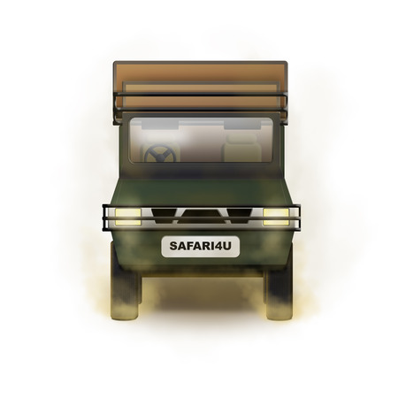 Isolated illustration of open safari truck with raised seats for tourists Imagens