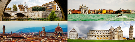 Best of Italy photos including Rome, Venice, Florence and Pisa which are common cities in guided group tours.