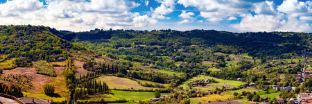 A wide panoramic view of the rolling hillside town of Orvieto in the Umbrian region of Italy Stock Photo - 71190445