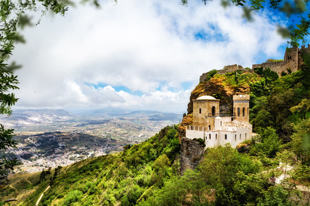 erice: Historic landmark of the Norman Castle on the top of Mount Erice overlooking the town of Trapani in Sicily, Italy Editorial