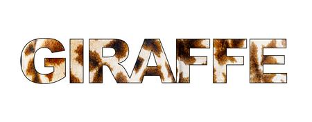 The word Giraffe written with fur pattern fill