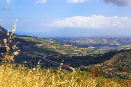 Beautiful view from the hilltop town of Segesta Sicily, Italy overlooking the valley below
