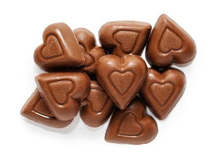 ハート型ミルクチョコレートバレンタインデーキャンディーのトップダウンビュー