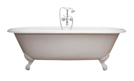 Beautiful classic style white claw foot bathtub with stainless steel old fashioned faucet and sprayer. Isolated on white. Stok Fotoğraf - 94250995