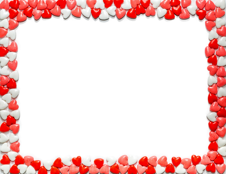 Heart shaped sweet Valentine's Day candy framing letter size white paper