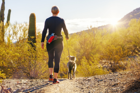 Unidentifiable woman walking a dog on a hiking path in Mountain View Park in Phoenix, Arizona Banque d'images