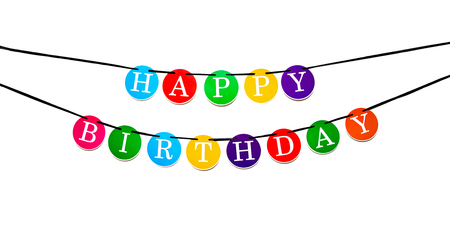Colorful happy birthday banner with letters in circles suspended on a black ribbon. Isolated on white.