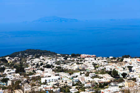 Aerial view of the seaside town of Anacapri, Italy