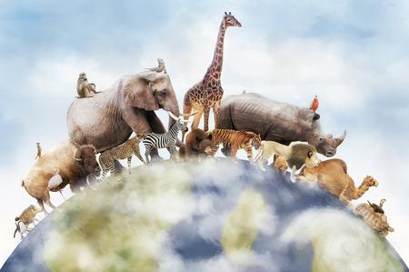 L'image conceptuelle de la faune autour de la planète terre peut être utilisée pour célébrer la Journée mondiale des animaux