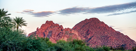 View of Camelback Mountain with Praying Monk Rock in Phoenix, Arizona, USA.