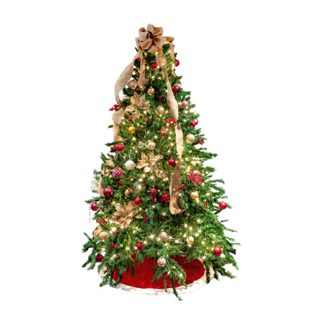 Christmas tree decorated with red and gold ornaments and burlap ribbon. Isolated on white background.