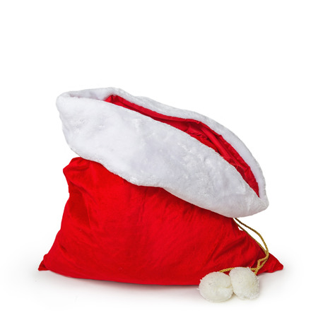 Empty Santa's gift bag isolated on white with room to add products or text