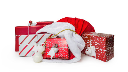 Red Santa Claus sack filled with wrapped Christmas presents