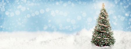 Christmas tree outdoor in falling snow. Horizontal web banner background or social media cover with room for text. Stock Photo