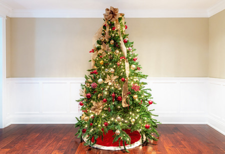 Beautifully decorated Christmas tree in center of empty room