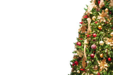 Half of side of decorated Christmas tree isolated on white with room for text