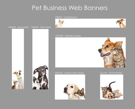 Set of various size web banners with cats and dogs for pet business advertising Фото со стока