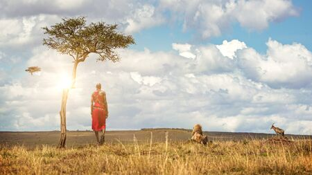 Unidentifiable Native Maasai Tribe man in traditional red dress with a lion, topi and vulture looking out over the land of the Masai Mara National Reserve
