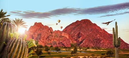 Travel scene of activities in Phoenix or Scottsdale, Arizona USA with Camelback mountain landmark. Horizontal web banner