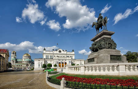 nevsky: Alexander II monument, Bulgarian parliament and Cathedral Alexander Nevsky Editorial
