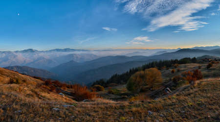 Rhodope - the mountain of Orpheus. Bulgaria. Wide angle panorama stitched photo. Digital painting