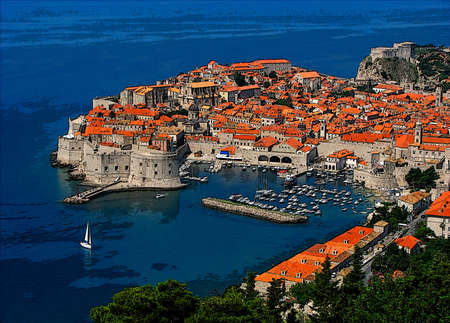 Dubrovnik - an old city on the Adriatic Sea coast in the extreme south of Croatia. Digital painting