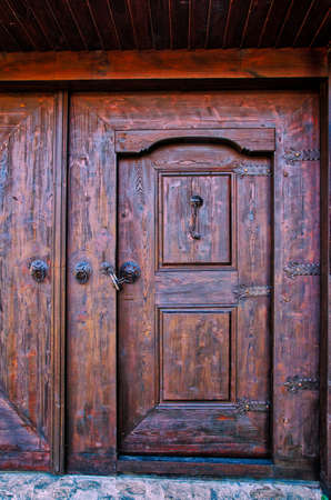 Old doors knockers and locks in Koprivshtica town, Bulgaria