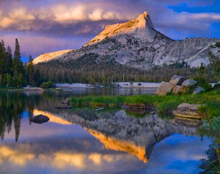 californian: Cathedral Peak is a popular peak in the Toulumne meadows area in Yosemite National Park.