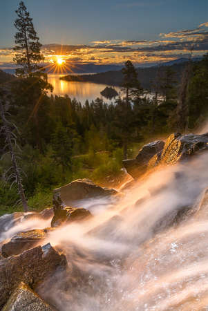 south lake tahoe: Eagle Falls is a popular waterfall in South Lake Tahoe. Its just off Highway 89.