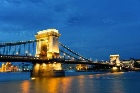 szechenyi: Szechenyi Bridge is connects Buda to Pest on the Danube river.