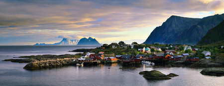 water  panoramic: The fishing village is located in the Lofoten islands in the norther part of Norway.