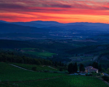 pienza: Tuscany is a popular wine region in Italy. Stock Photo