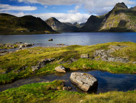 The lofoten is an Archipelago in the northern part of Norway. Stock Photo
