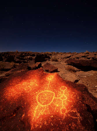 Ancient petroglyph in volcanic tablelands by Bishop California.