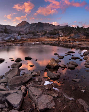 alpenglow: Dramatic Alpenglow at North Peak Stock Photo