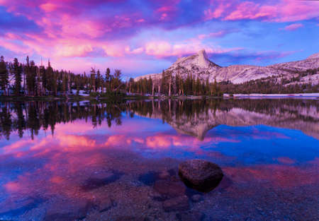 Cathedral Peak is a popular peak in the Toulumne meadows area in Yosemite National Park.