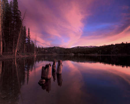 quite: Red Clouds in Tahoe National Forest Stock Photo