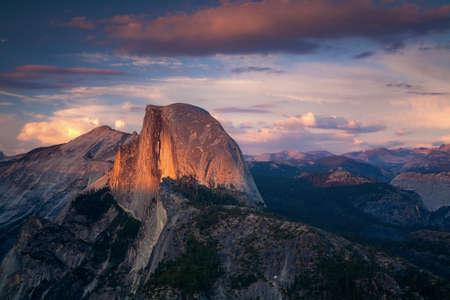 sierras: Halfdome Sunset Yosemite California Stock Photo