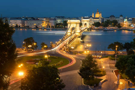 The Chaine Bridge is a famous landmark on the Danube River in Hungary Stock Photo