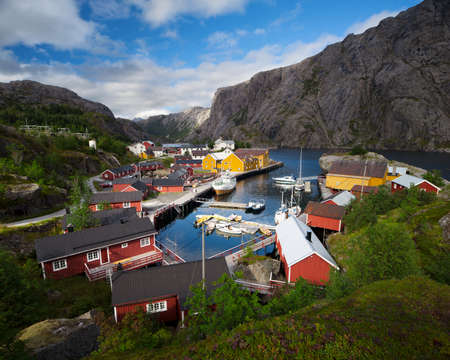 gory: Nusfjord Fishing Villange in Norway Stock Photo