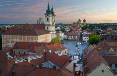 historical battle: Eger Hungary, Castle View Stock Photo